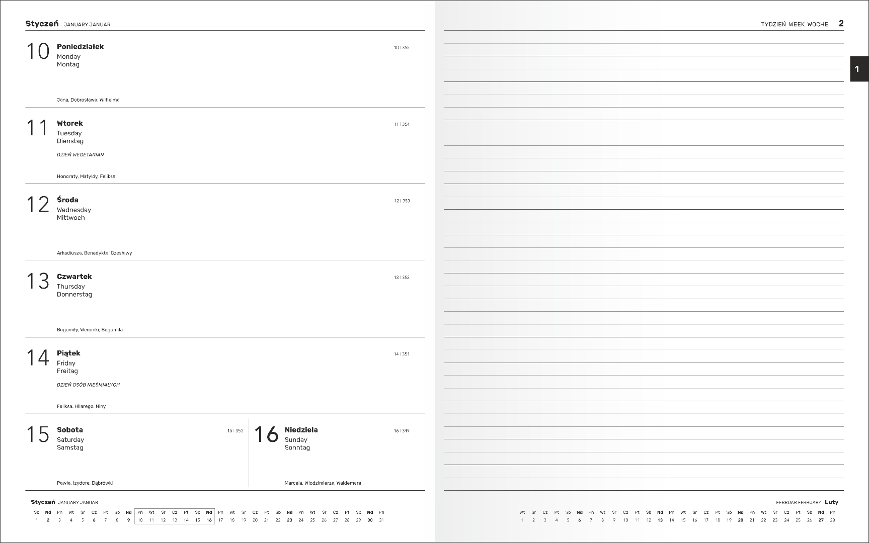 B5 tygodniowo-notesowy - 169x240mm (G207T)